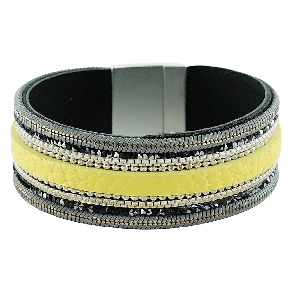 Silver Bracelet w/ Crystals & Yellow Leather