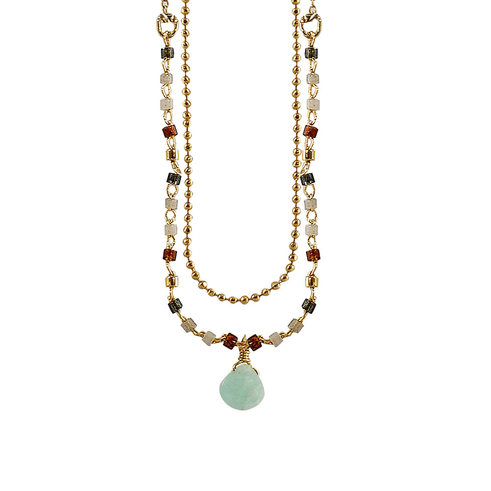 Golden Necklace w/ Multicolored Beads & Blue Stone