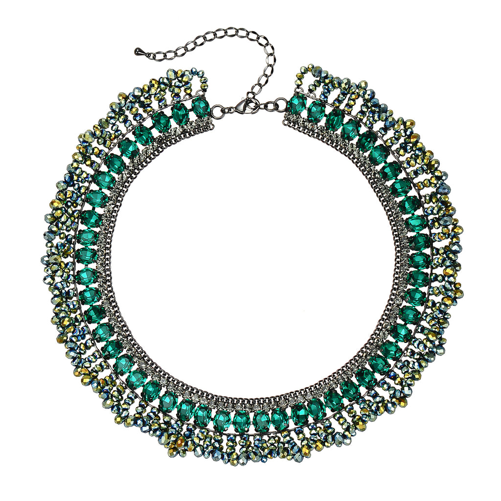 Gunmetal Necklace w/ Green Crystals