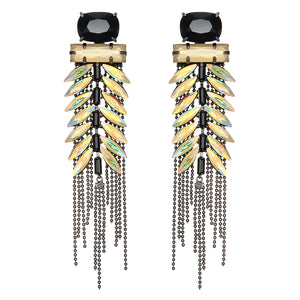 Yellow & Black Crystal Earrings