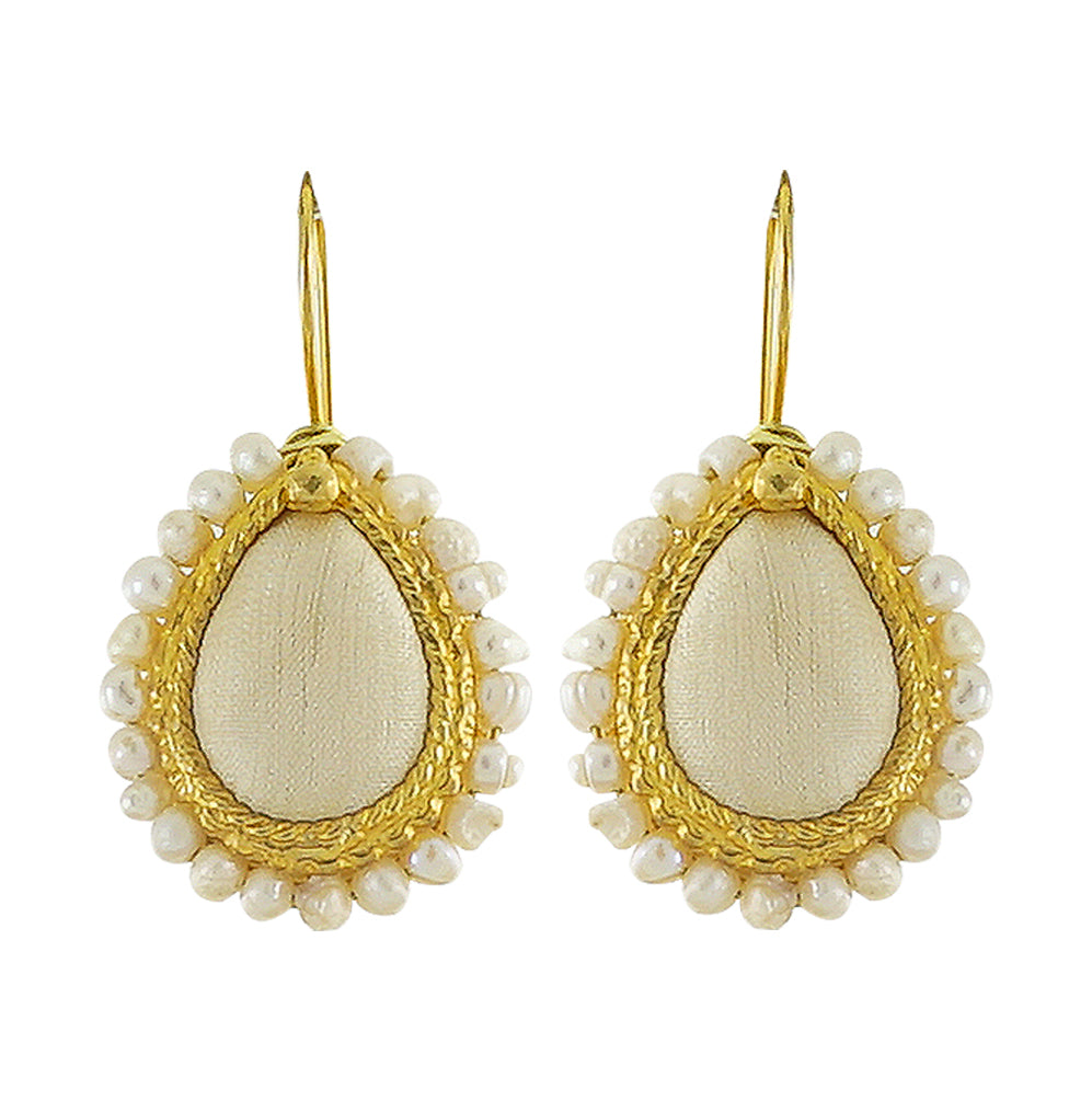Golden Earrings w/ Beige Silk & Cultured Pearls