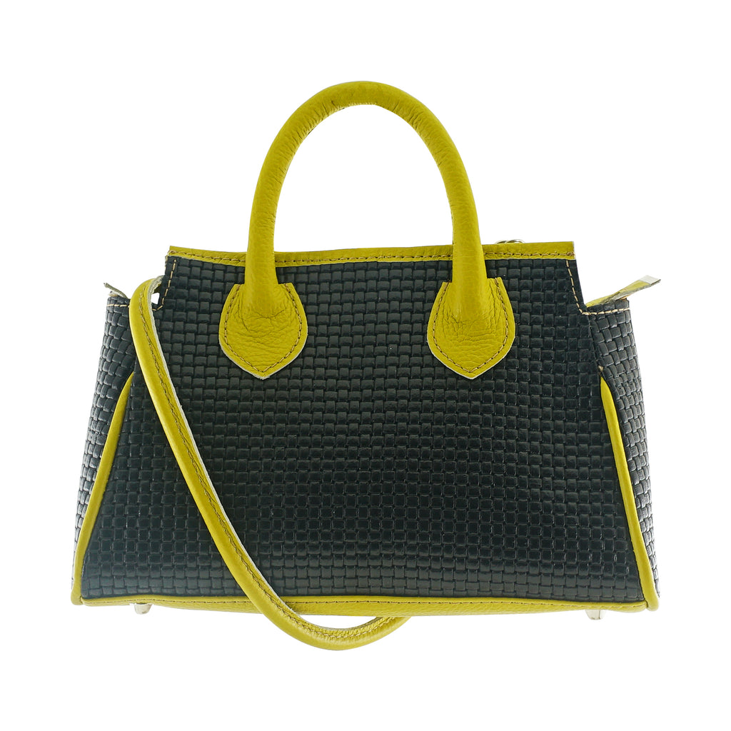 Black & Yellow Leather Bag