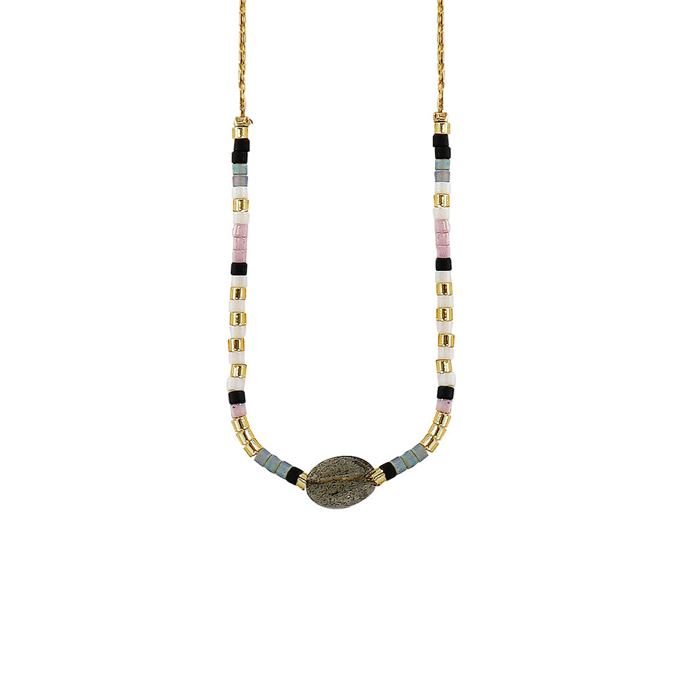 Golden Necklace w/ Grey Stone