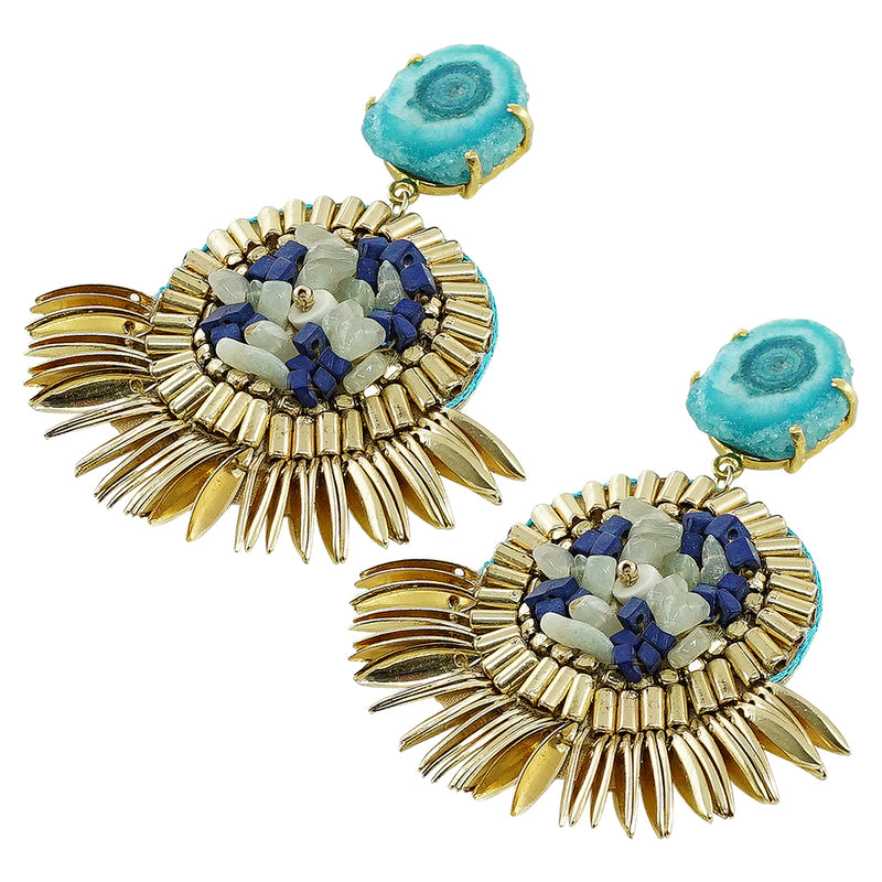 Golden Earrings w/ Blue & White Stones