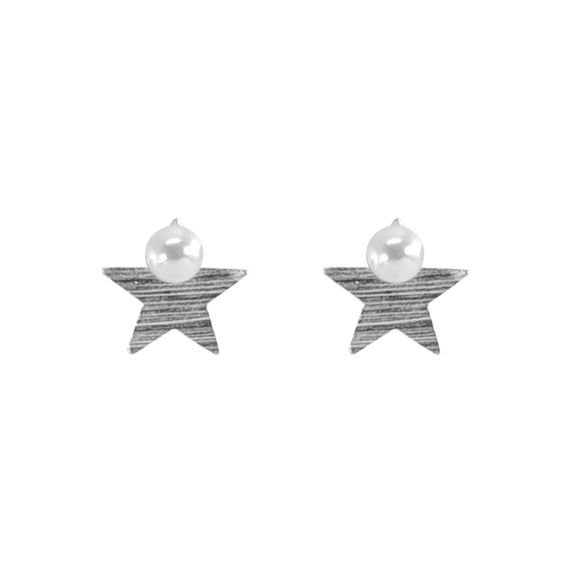 Silver Star Earrings w/ Pearl