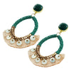 Green Crystal Earrings w/ Tassels & Mother of Pearl
