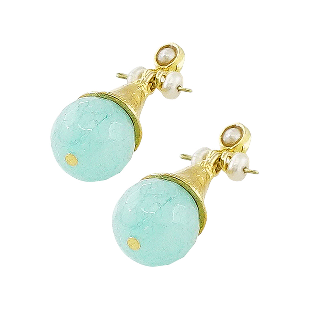 Golden Earrings w/ Blue Jade Stone & Cultured Pearls