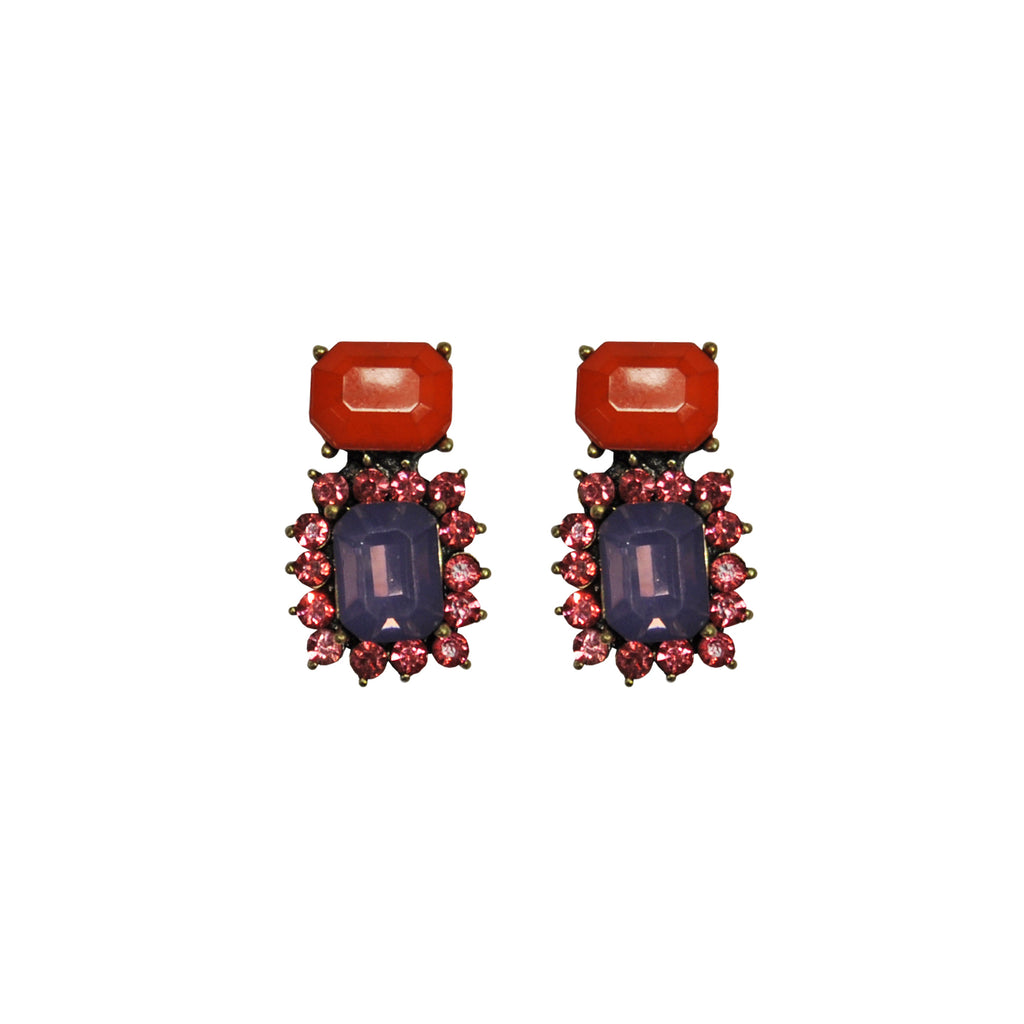 Red & Purple Crystals Earrings
