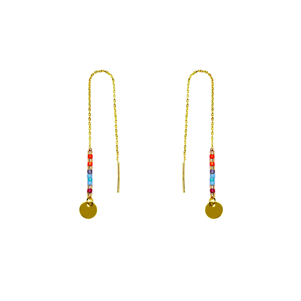 Gold earrings w/ multicolored Miyuki beads and round pendant