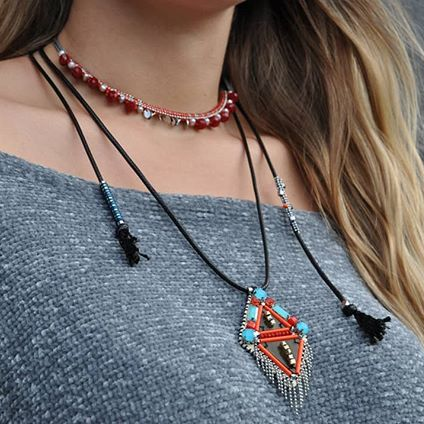 Grey Necklace w/ Red Crystals
