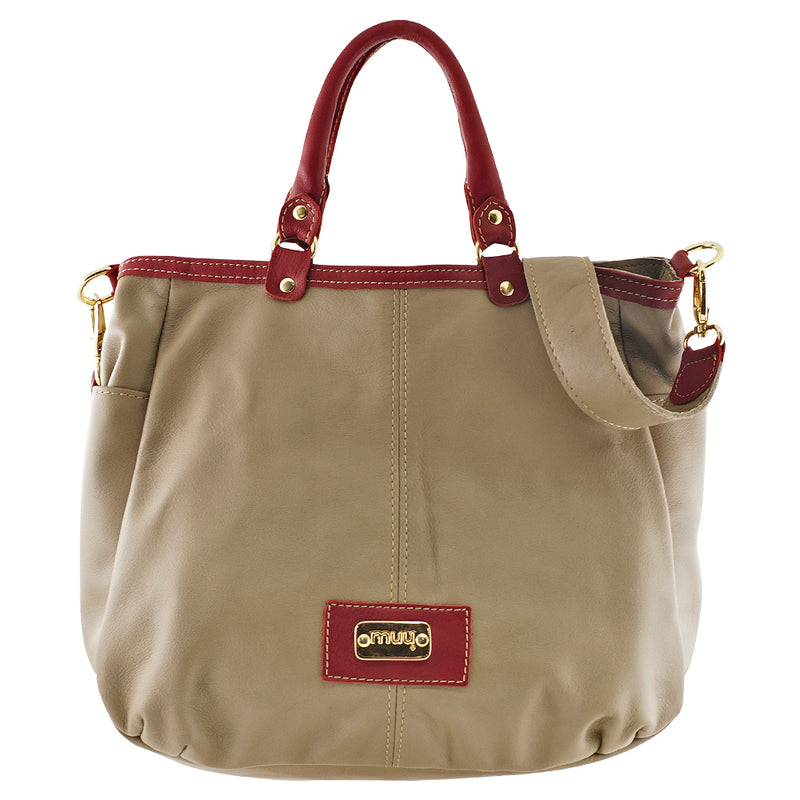 Taupe & Crimson Leather Bag