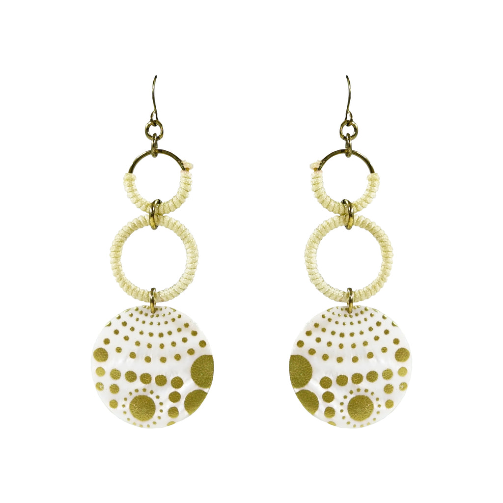 White & Golden Circle Earrings