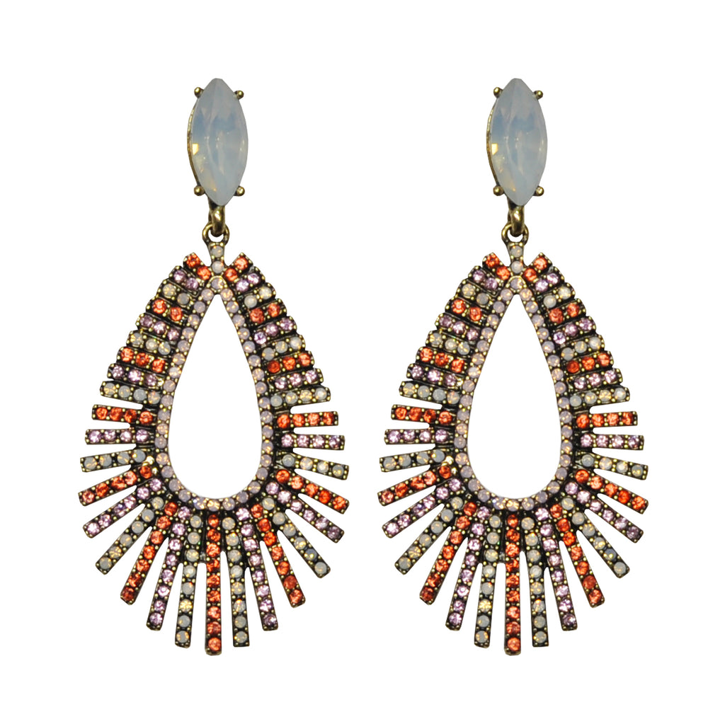 Orange, Pink & White Crystals Earrings