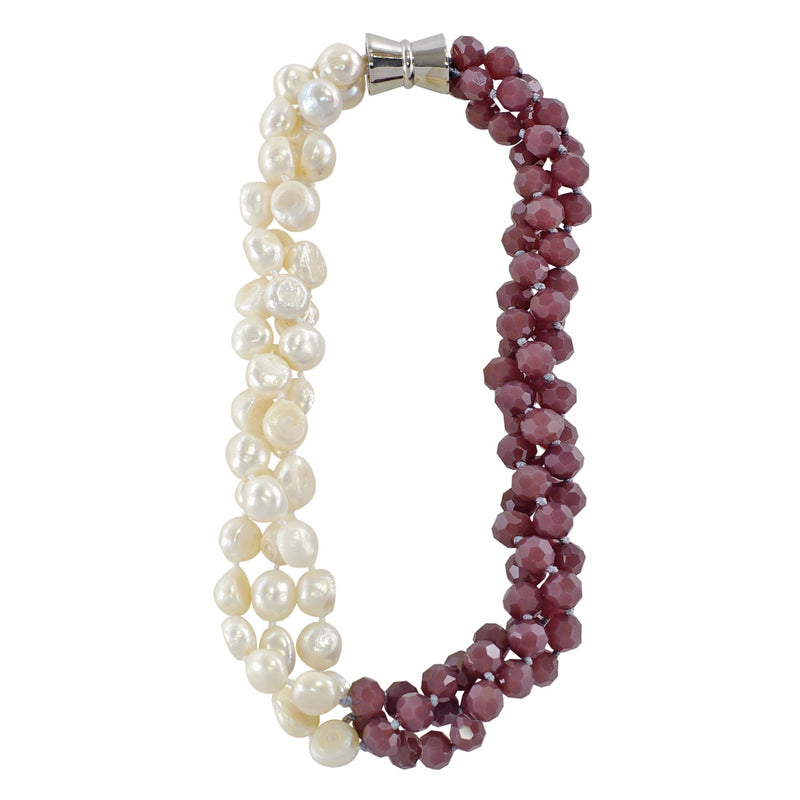 Purple Crystal & Cultured Pearls Necklace