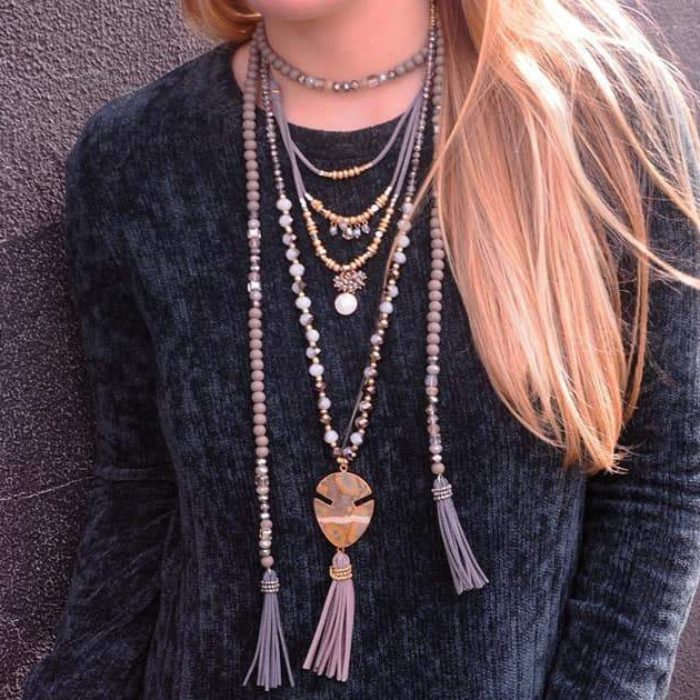 Crystal & Stones Necklace w/ Suede Tassels