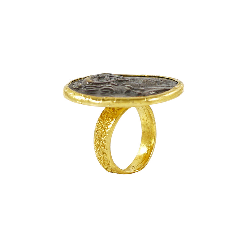 Golden Ring w/ Engraved Face