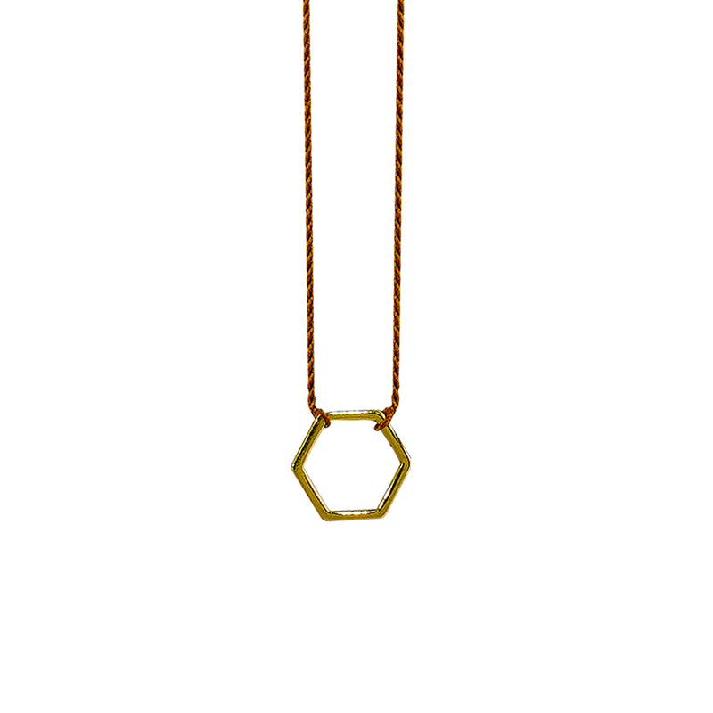 Brown String w/ Golden Hexagon