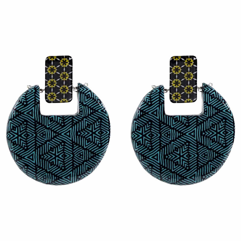 Blue Patterned Earrings