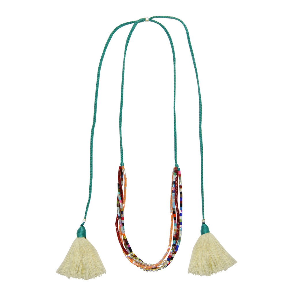Necklace with Beads & Beige Tassels