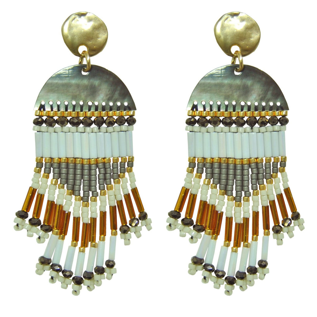 Earrings with Miyuki Stones & Mother of Pearl