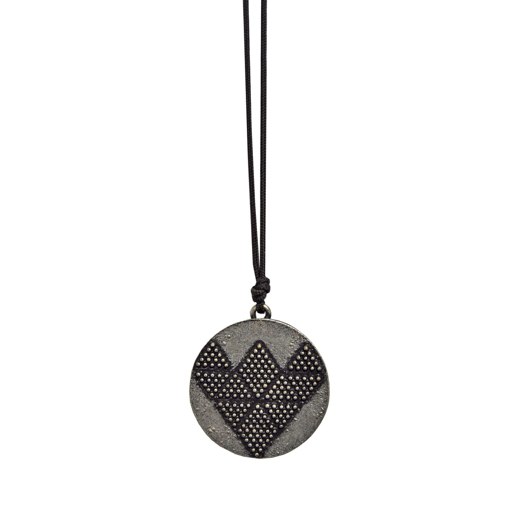 Dark Brown Necklace with Silver Pendant