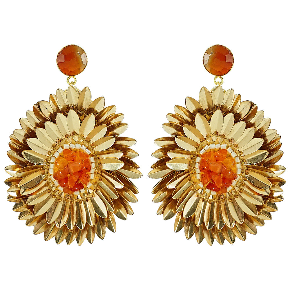 Golden Earrings w/ Orange Stones