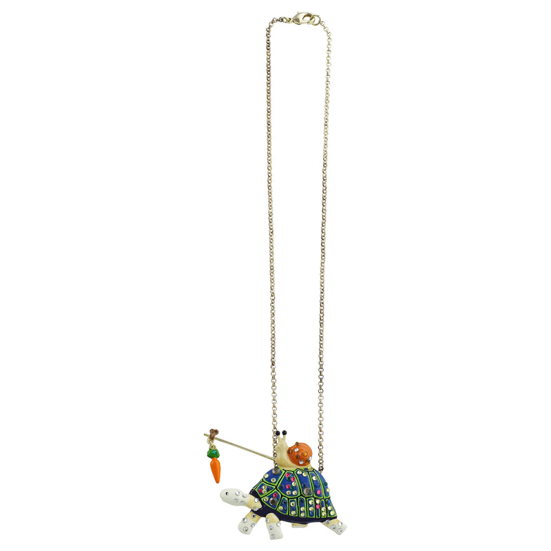 Golden Necklace w/ Turtle & Snale Pendant