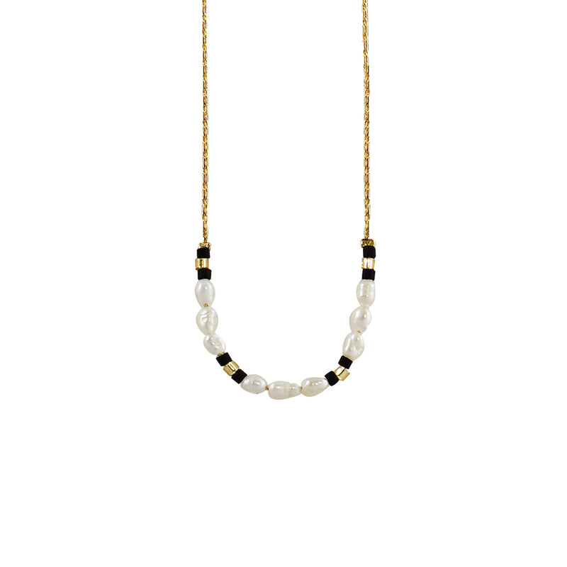 Golden Necklace w/ Cultured Pearls