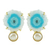Golden Earrings w/ Blue Stone & Cultured Pearl