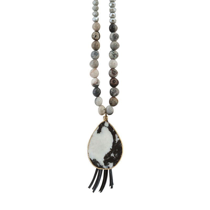 Crystal Necklace w/ Pendant & Tassel