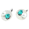 Silver Earrings w/ Cultured Pearl & Blue Crystal