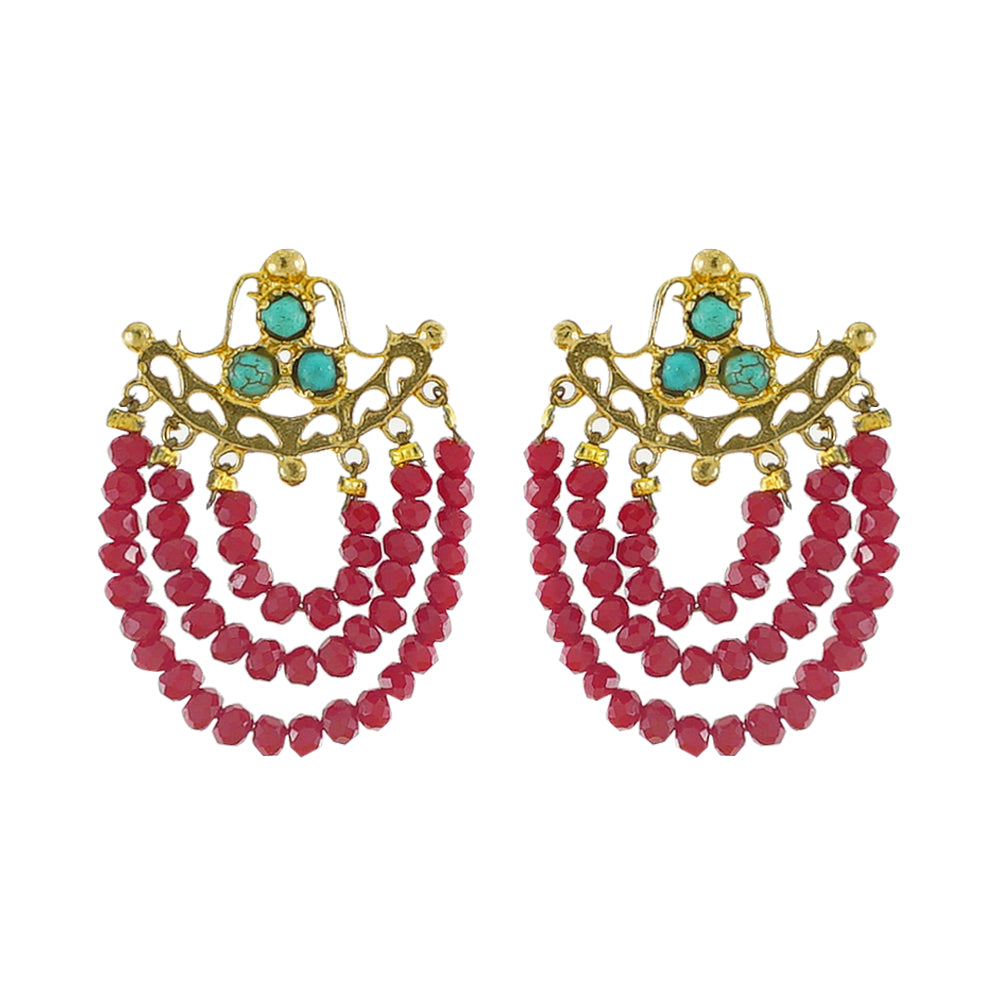 Golden Earrings w/ Red & Turquoise Stones
