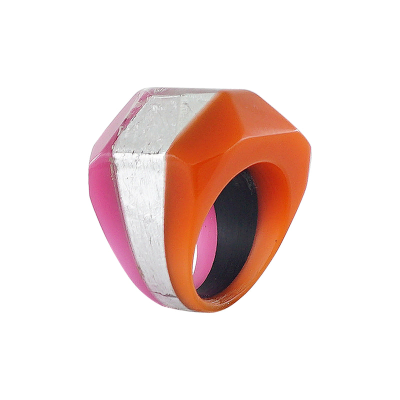 Pink, Silver & Orange Resin Ring