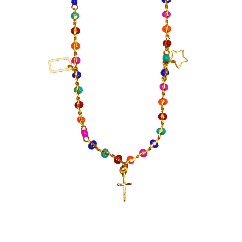 Multicolor Necklace with Gold Pendants