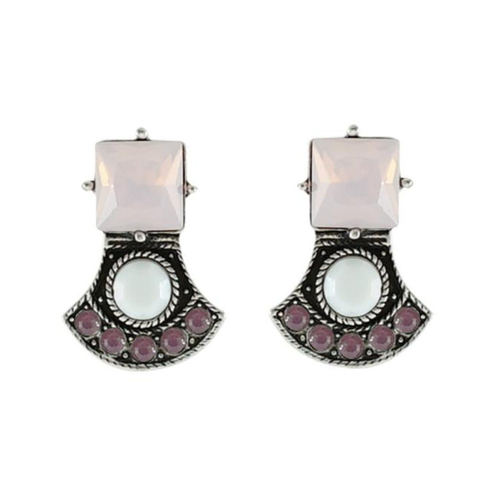 White, Pink & Purple Crystal Earrings