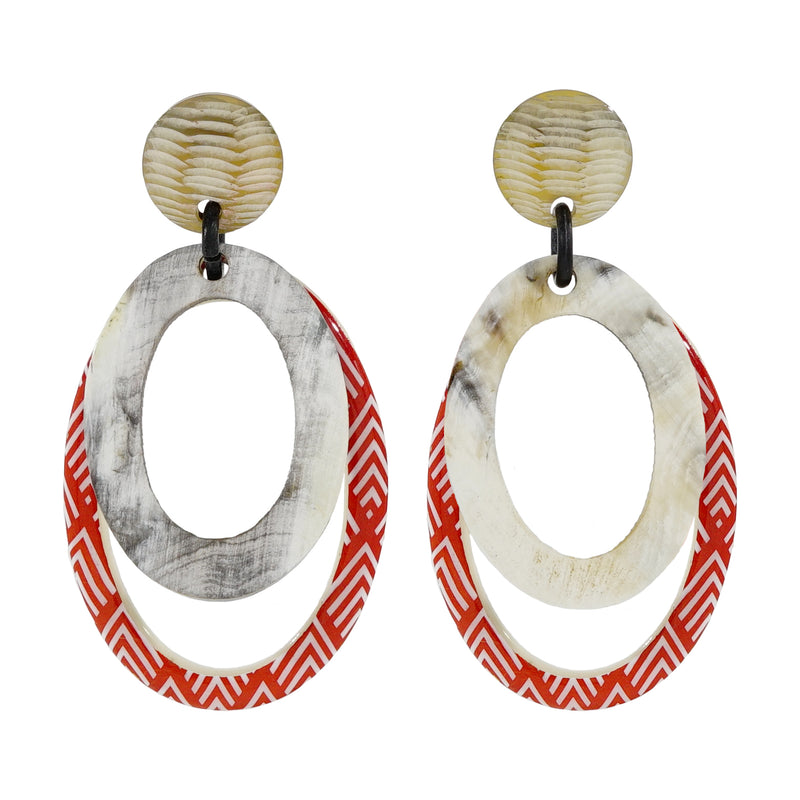 Red & White Pattern Earrings w/ Horn