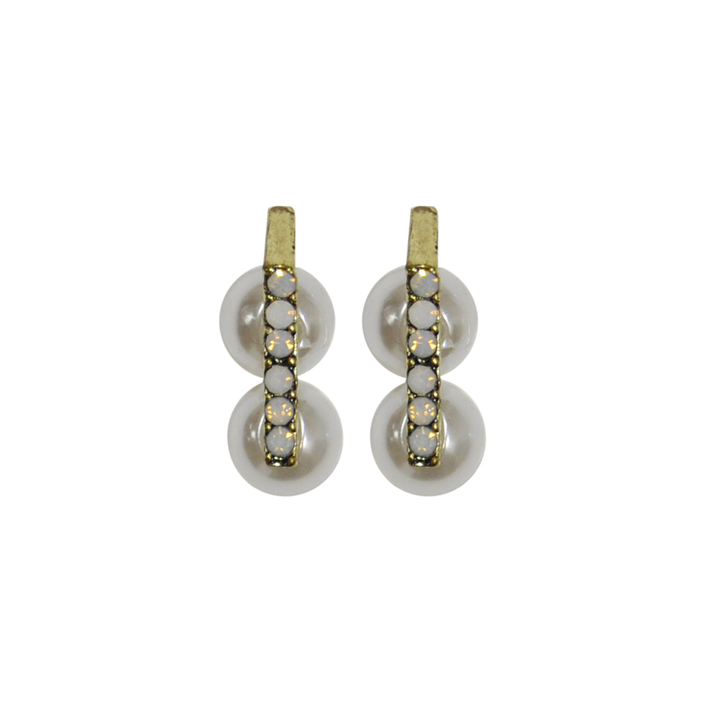 White crystal earrings with pearls