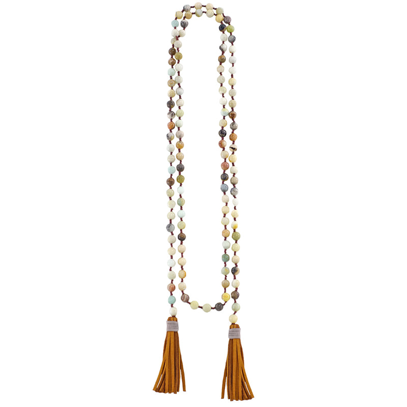 Multicolored Bead Necklace w/ Tassels