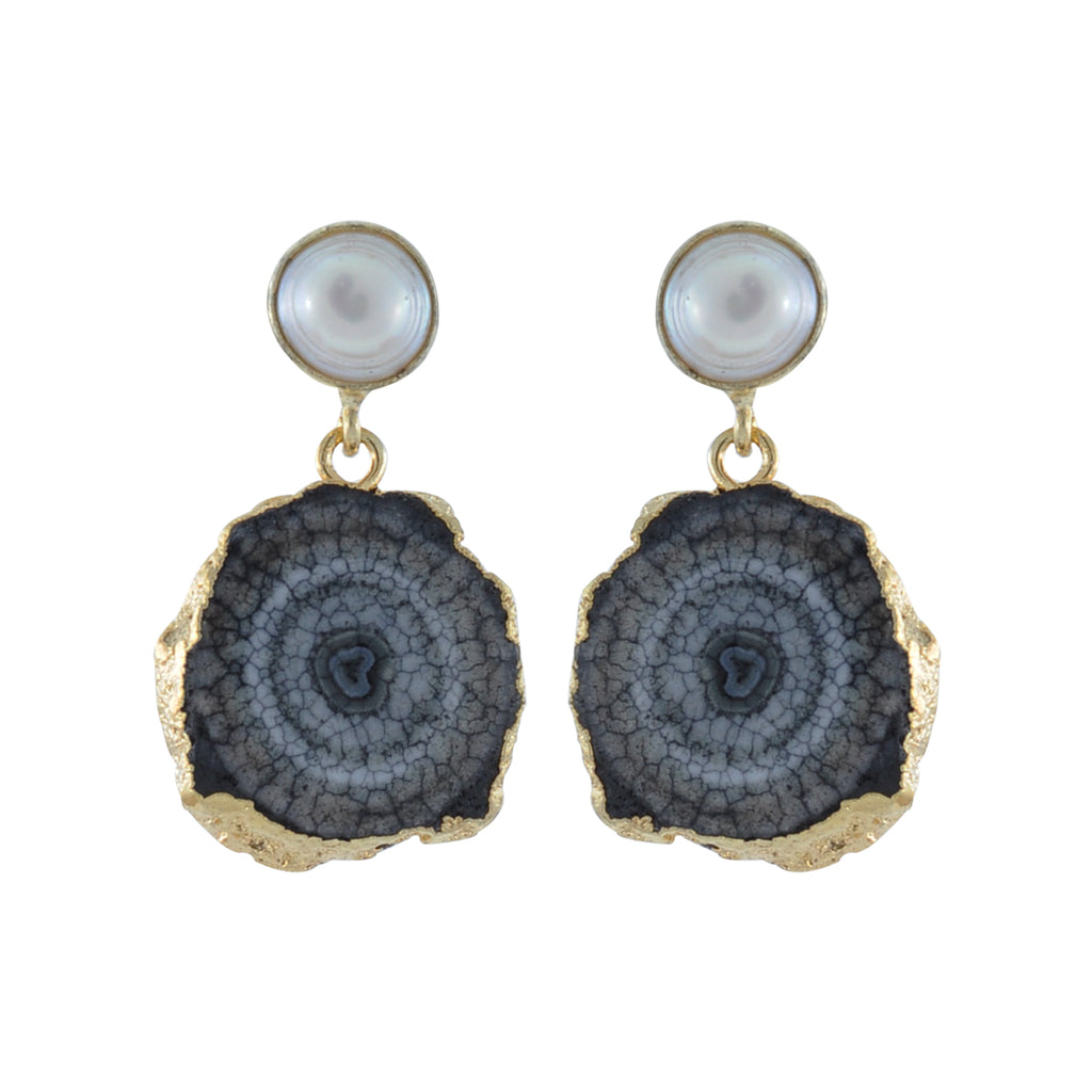 Grey Stone Earrings w/ Pearl