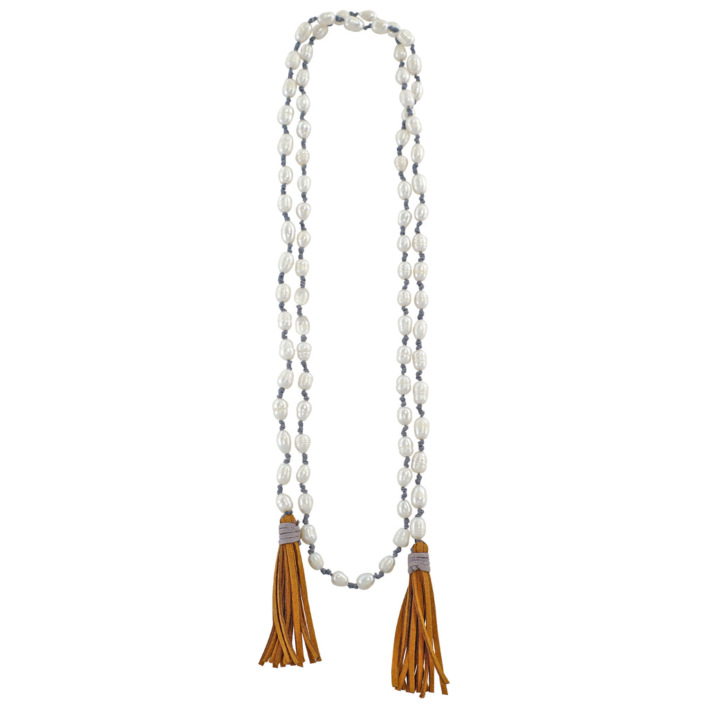 Cultured Pearl Necklace w/ Suede Tassels