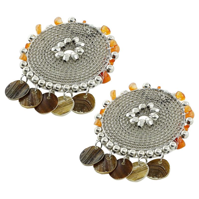 Silver Earrings w/ Orange Stones & Silver Beads