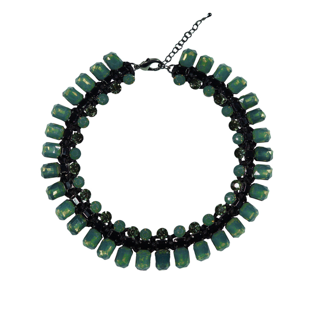 Green & Black Crystal Necklace