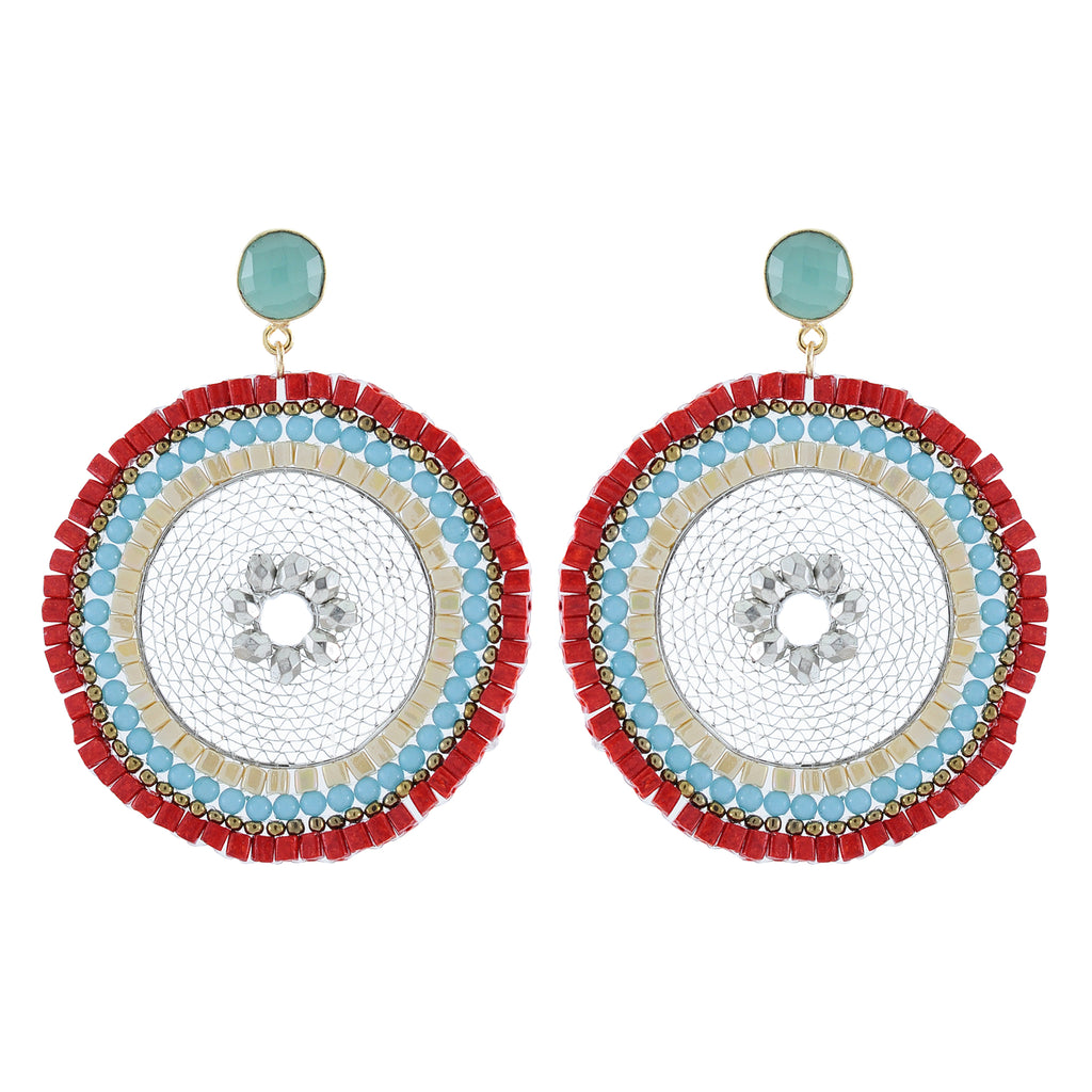 Bead Earrings w/ Iron net