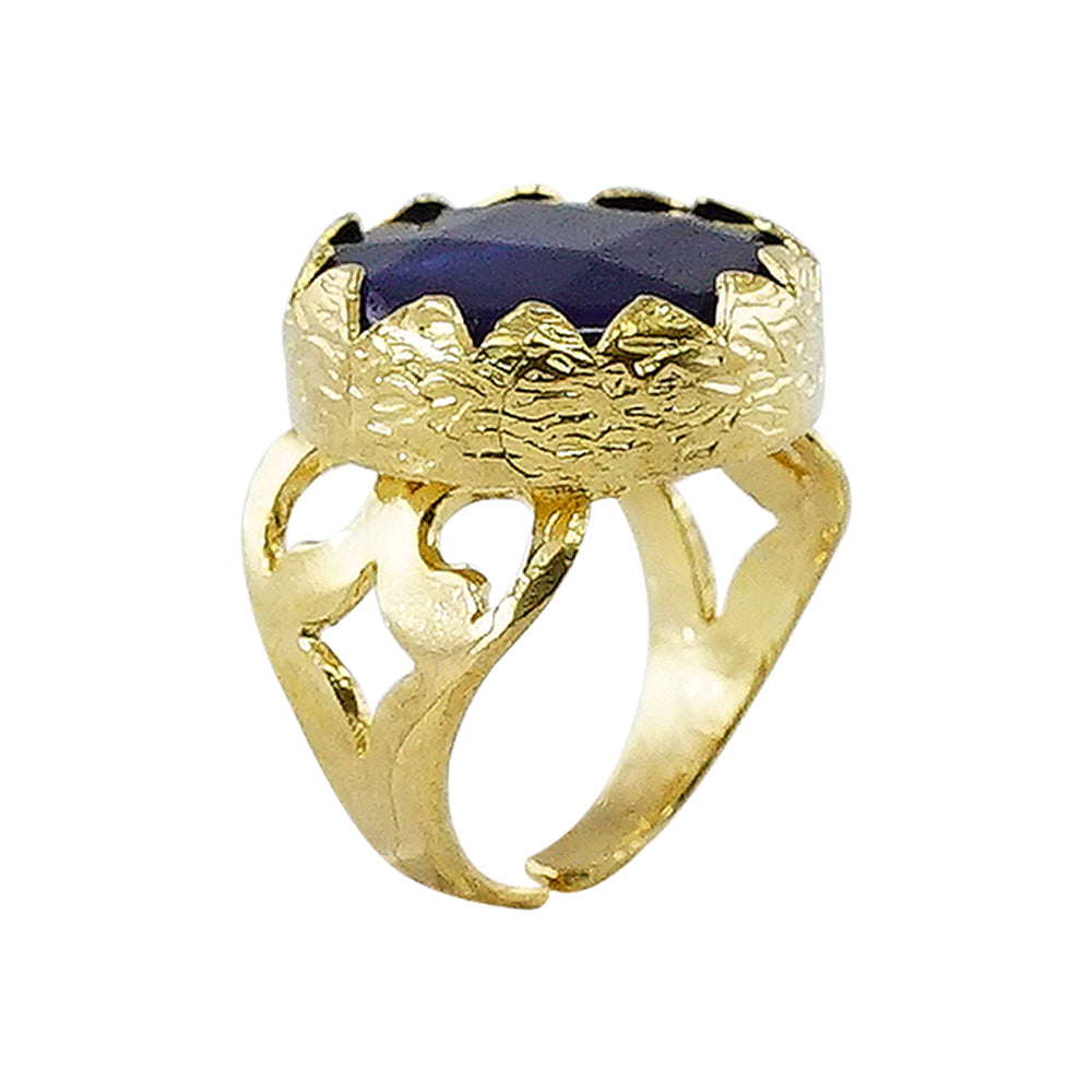 Golden Ring w/ Blue Chiseled Stone