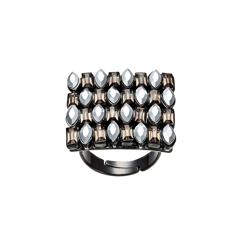 Gunmetal Ring w/ Crystals