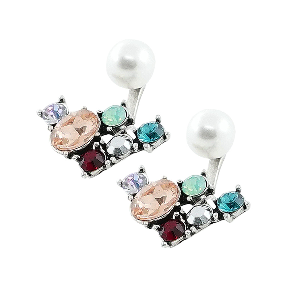 Multicolored Crystal Earrings w/ Cultured Pearl