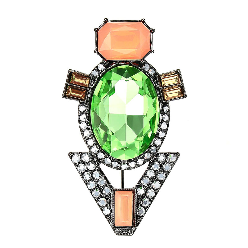 Green & Orange Crystal Brooch