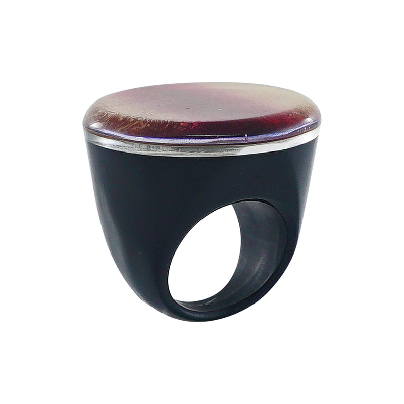 Black Resin Ring w/ Golden & Red Print