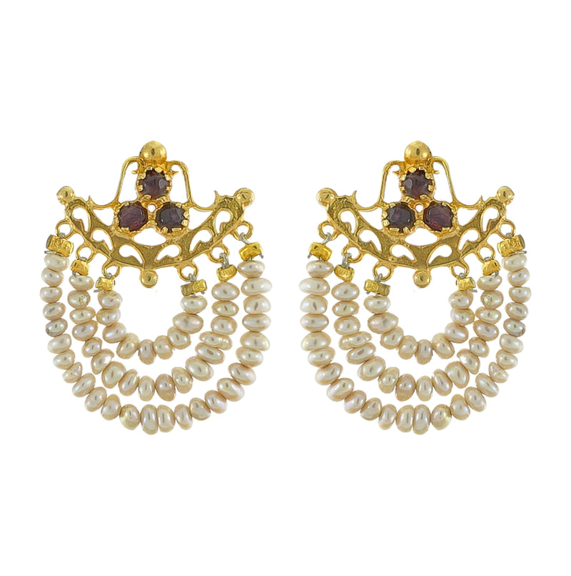 Golden Earrings w/ Cultured Pearls & Stones