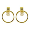 Golden Earrings w/ Cultured Pearl